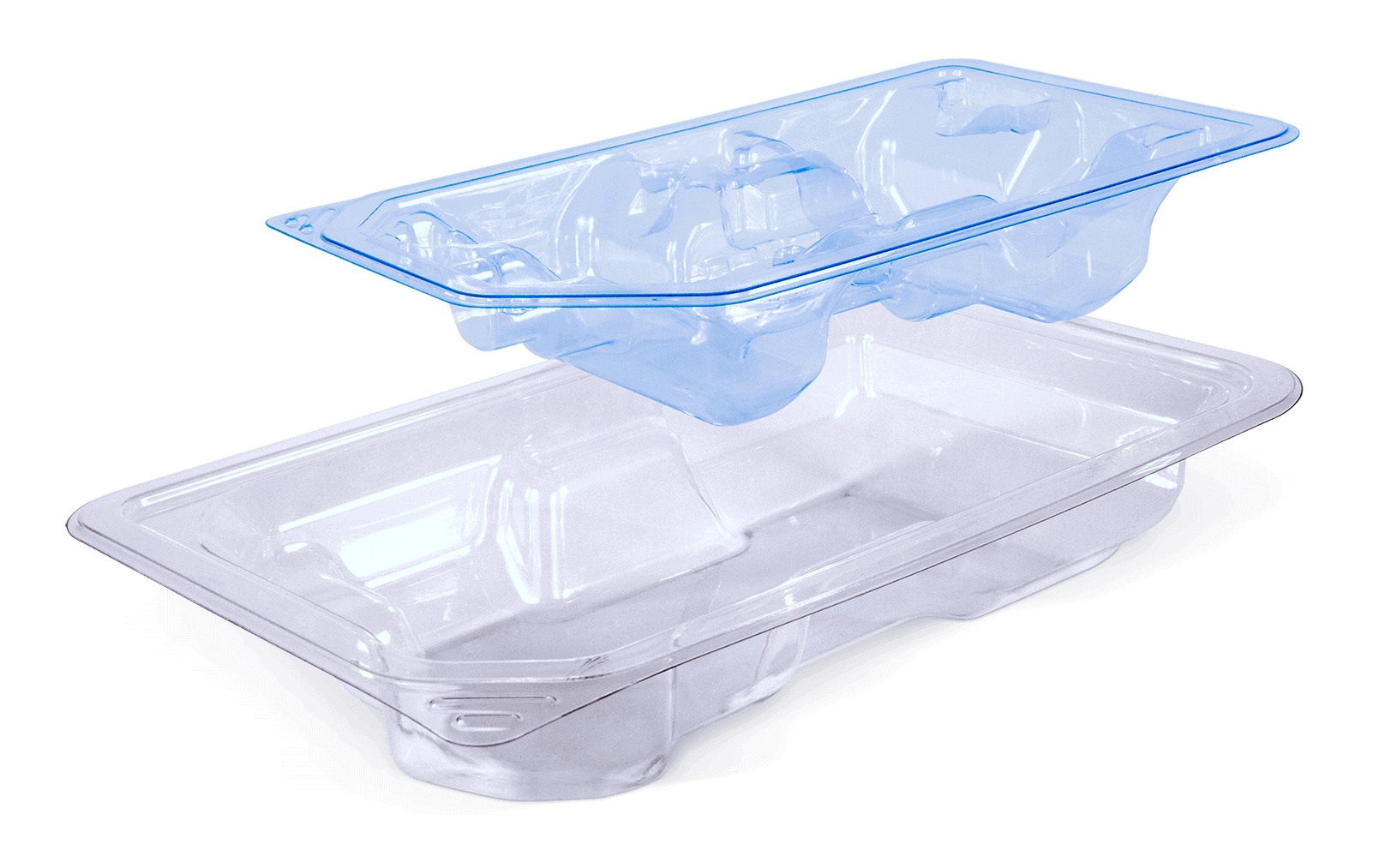 Clear Tray with Blue PETF Medical Device Insert